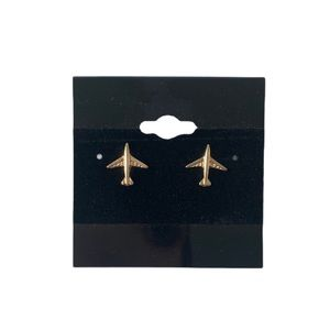 Airplane Gold Tone Stud Statement Earrings New